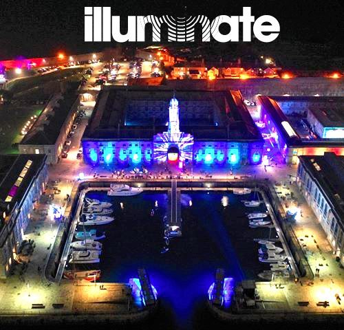 Aerial shot of Illuminate Festival in progress