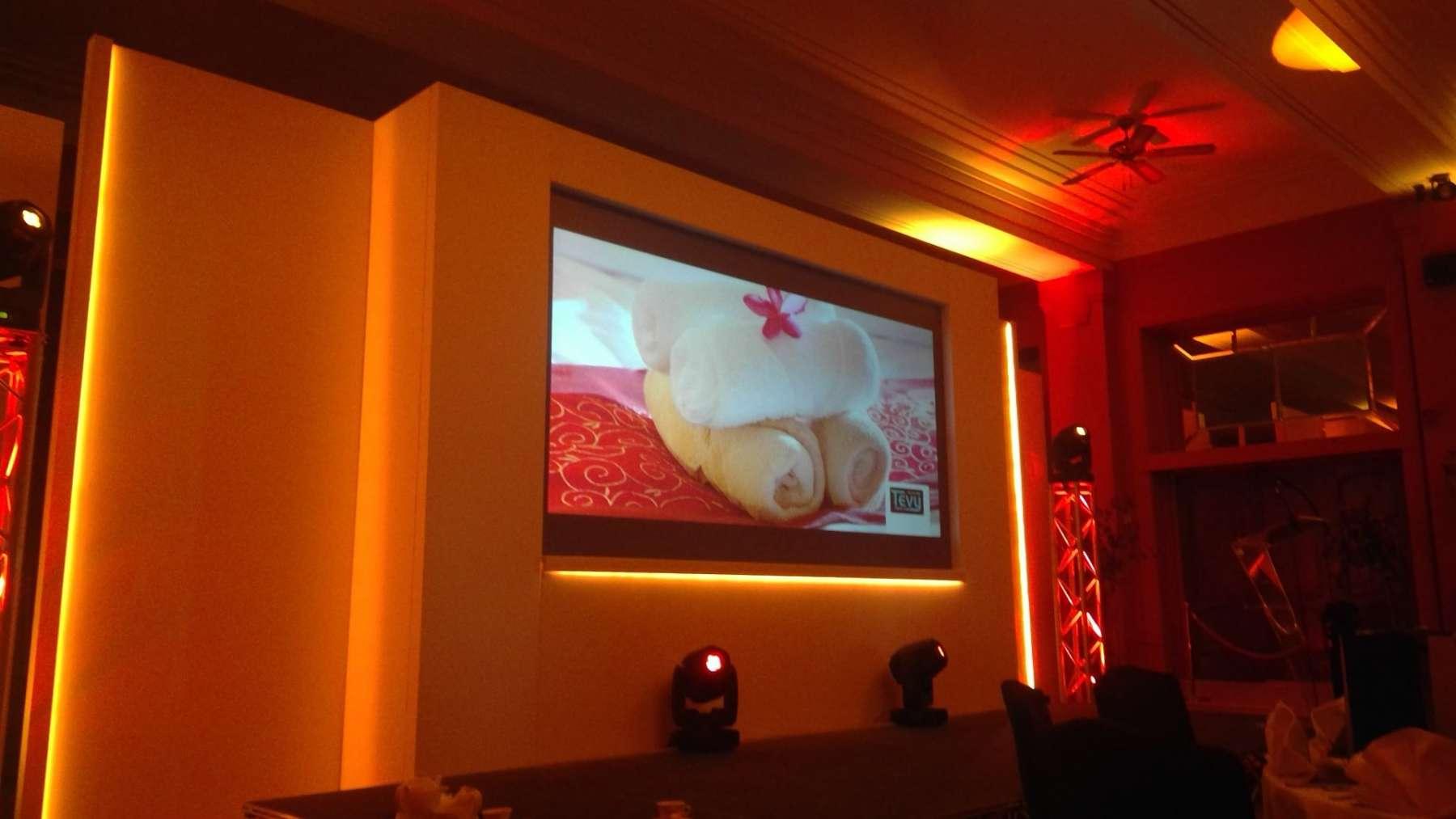 closeup of widescreen display in corporate set